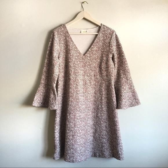 Maeve Dresses & Skirts - Maeve Tweed Mid Length Shift Dress w/ bell sleeves
